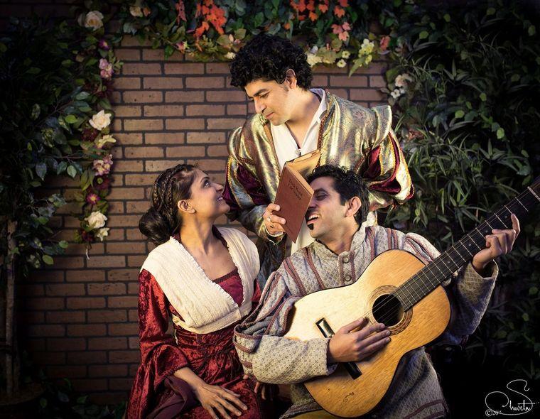"Ekta Brahmakshatri, Amit Sharma and Abhishek Das as Bianca, Lucensio and Hortensio in Naatak's ""To Sam Purush Na Mo Sam Naari,"" a Hindi adaptation of Shakespeare's ""The Taming of the Shrew."" (Shweta Prakash photo)"