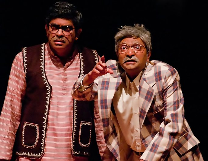 Harish Agastya, right, seen here in 2009 production of 'Patol Babu Filmstar', was recently named Cupertino's Distinguished Artist of the Year. Agastya has been an actor, producer, director, playwright, and board member for Naatak, the Bay Area's first Indian-American theater company.